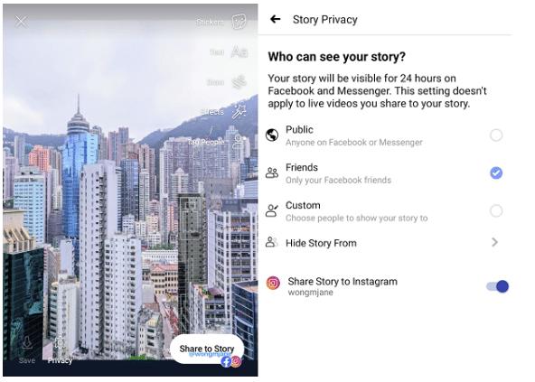 Facebook-Stories in Instagram posten
