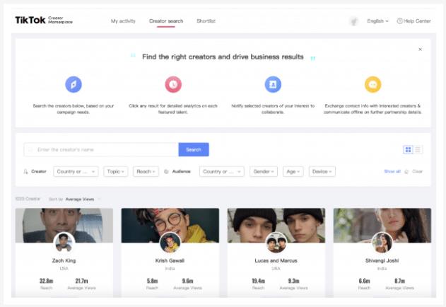 Screenshot TikTok Creator Marketplace