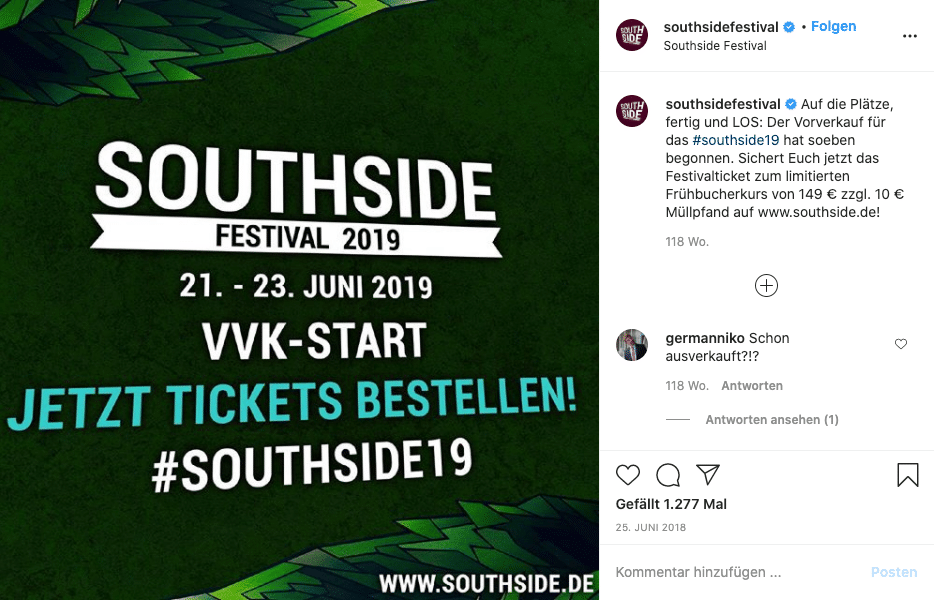 Southside Festival 2019 VVK-Start Tickets Kampagne Instagram
