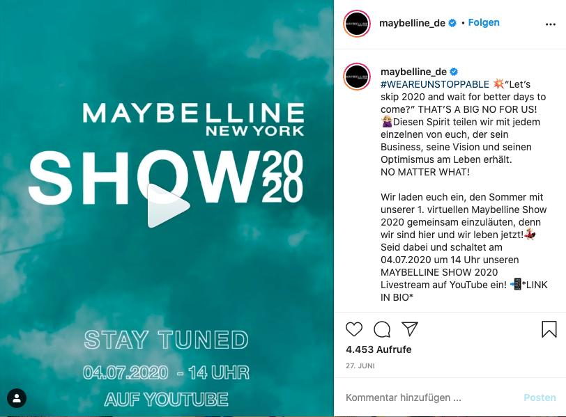 Maybelline Show Instagram Kampagne Event Veranstaltung