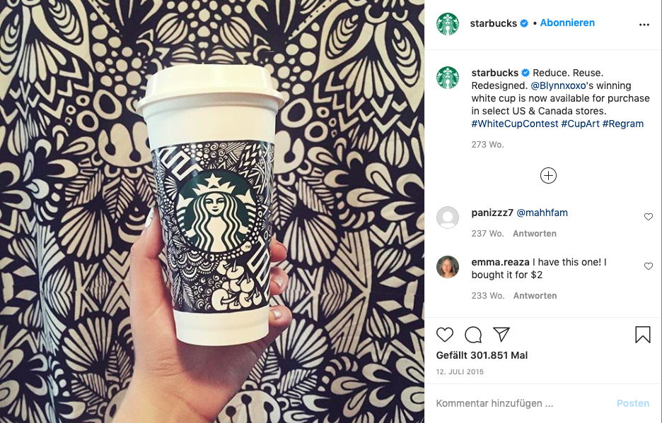#whitecupcontest von Instagram