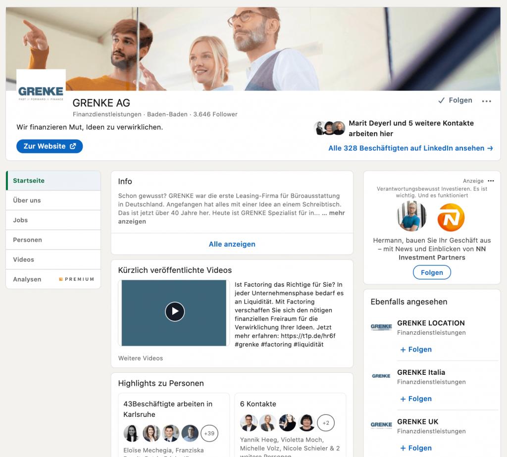GRENKE - LinkedIn Account richtig aufsetzen